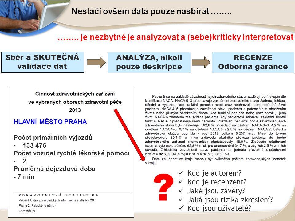 Nestačí ovšem data pouze nasbírat ……..