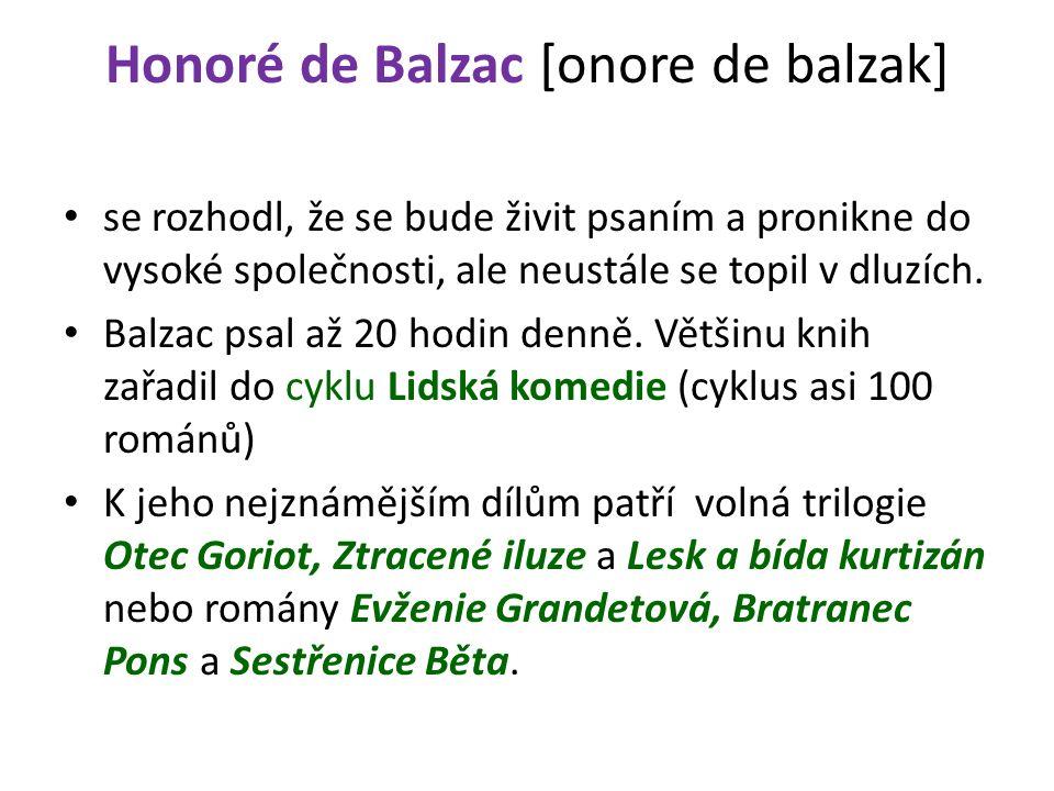 Honoré de Balzac [onore de balzak] se rozhodl, že se bude živit psaním a pronikne do vysoké společnosti, ale neustále se topil v dluzích.