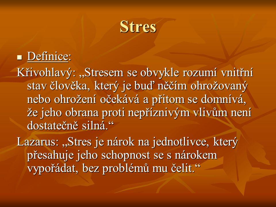 """Stres Definice: Definice: Křivohlavý: """"Stresem se obvykle rozumí vnitřní stav člověka, který je buď něčím ohrožovaný nebo ohrožení očekává a přitom se"""