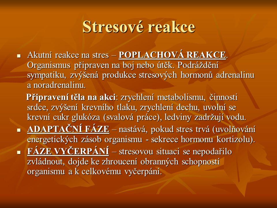 Stresové reakce Akutní reakce na stres – POPLACHOVÁ REAKCE. Organismus připraven na boj nebo útěk. Podráždění sympatiku, zvýšená produkce stresových h