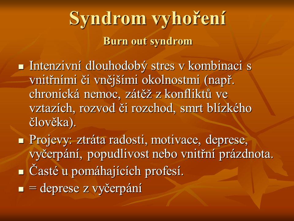 Syndrom vyhoření Burn out syndrom Intenzivní dlouhodobý stres v kombinaci s vnitřními či vnějšími okolnostmi (např. chronická nemoc, zátěž z konfliktů