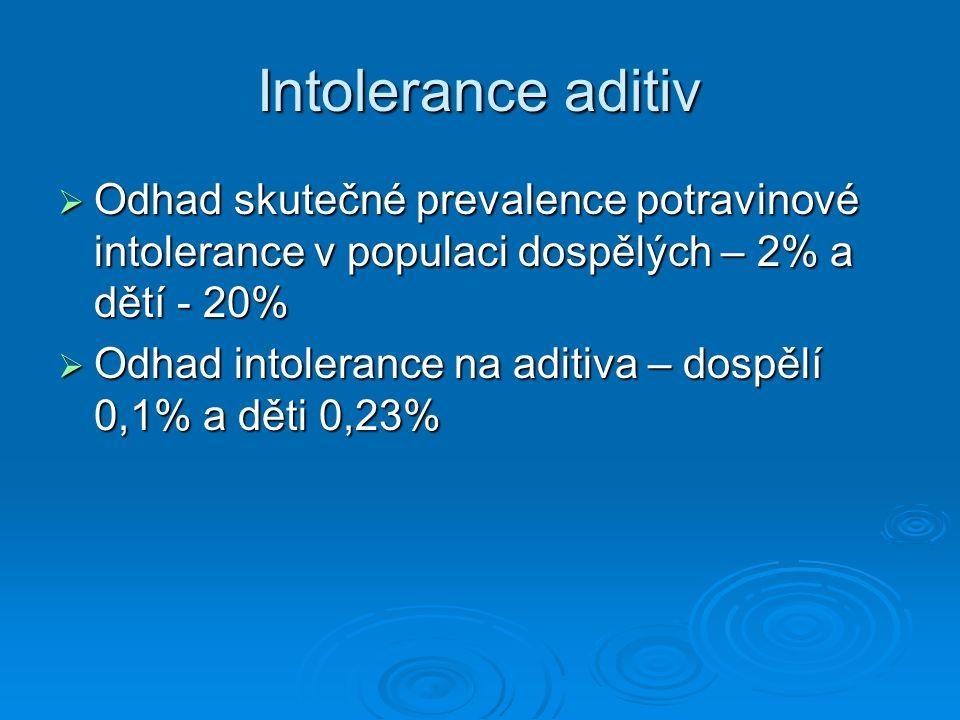 Intolerance aditiv  Odhad skutečné prevalence potravinové intolerance v populaci dospělých – 2% a dětí - 20%  Odhad intolerance na aditiva – dospělí