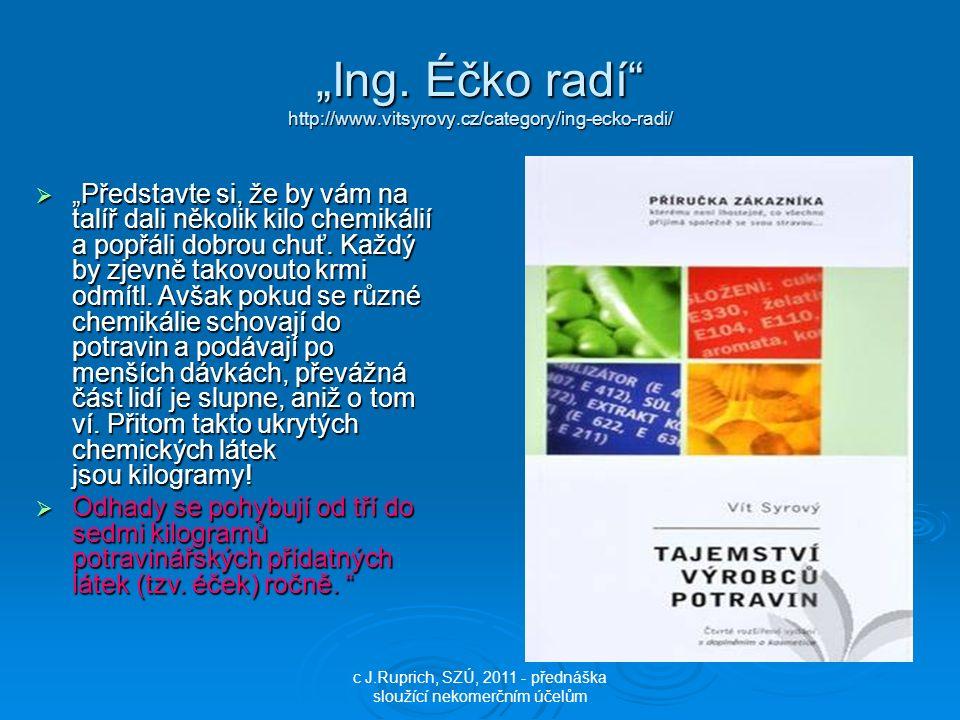 """""""Ing. Éčko radí"""" http://www.vitsyrovy.cz/category/ing-ecko-radi/ c J.Ruprich, SZÚ, 2011 - přednáška sloužící nekomerčním účelům  """"Představte si, že b"""