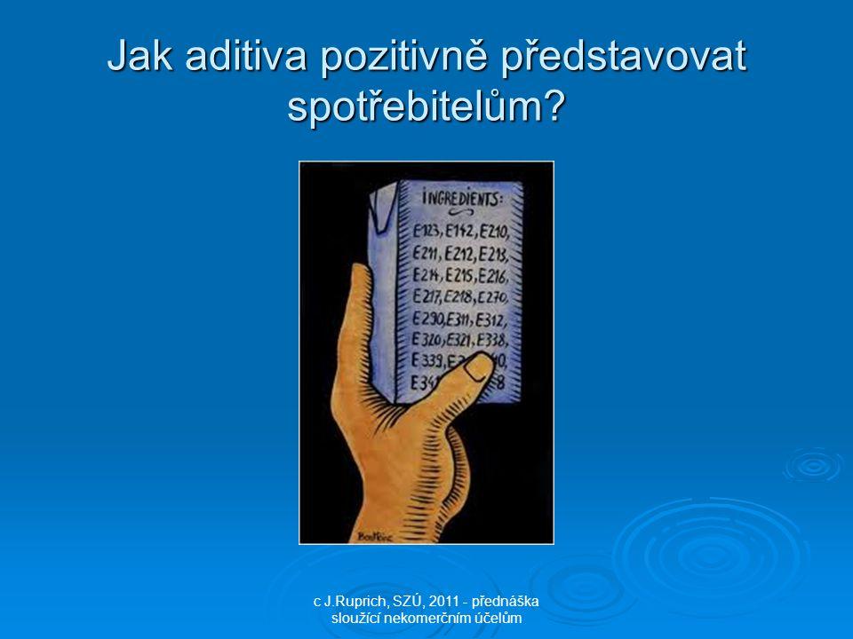 Jak aditiva pozitivně představovat spotřebitelům? c J.Ruprich, SZÚ, 2011 - přednáška sloužící nekomerčním účelům