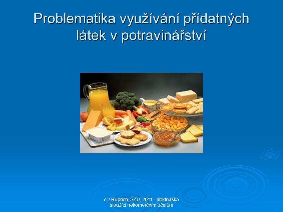 Problematika využívání přídatných látek v potravinářství c J.Ruprich, SZÚ, 2011 - přednáška sloužící nekomerčním účelům