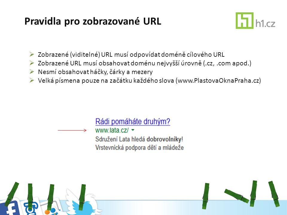 Pravidla pro zobrazované URL  Zobrazené (viditelné) URL musí odpovídat doméně cílového URL  Zobrazené URL musí obsahovat doménu nejvyšší úrovně (.cz,.com apod.)  Nesmí obsahovat háčky, čárky a mezery  Velká písmena pouze na začátku každého slova (www.PlastovaOknaPraha.cz)