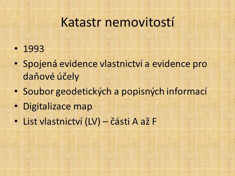 Katastr nemovitostí 1993 Spojená evidence vlastnictví a evidence pro daňové účely Soubor geodetických a popisných informací Digitalizace map List vlastnictví (LV) – části A až F