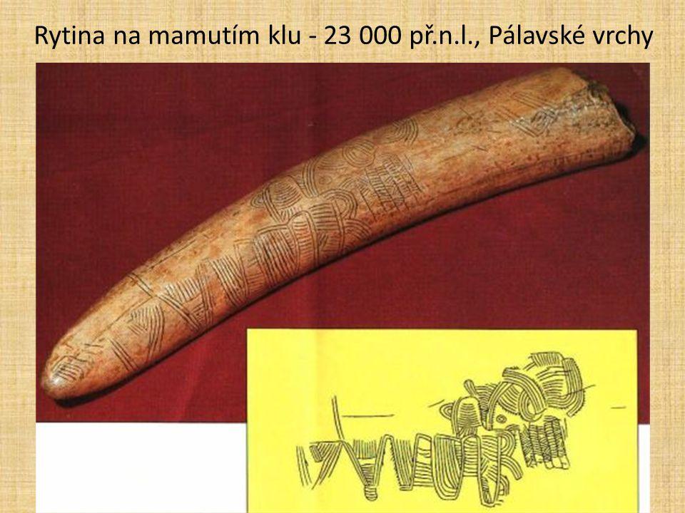 Rytina na mamutím klu - 23 000 př.n.l., Pálavské vrchy
