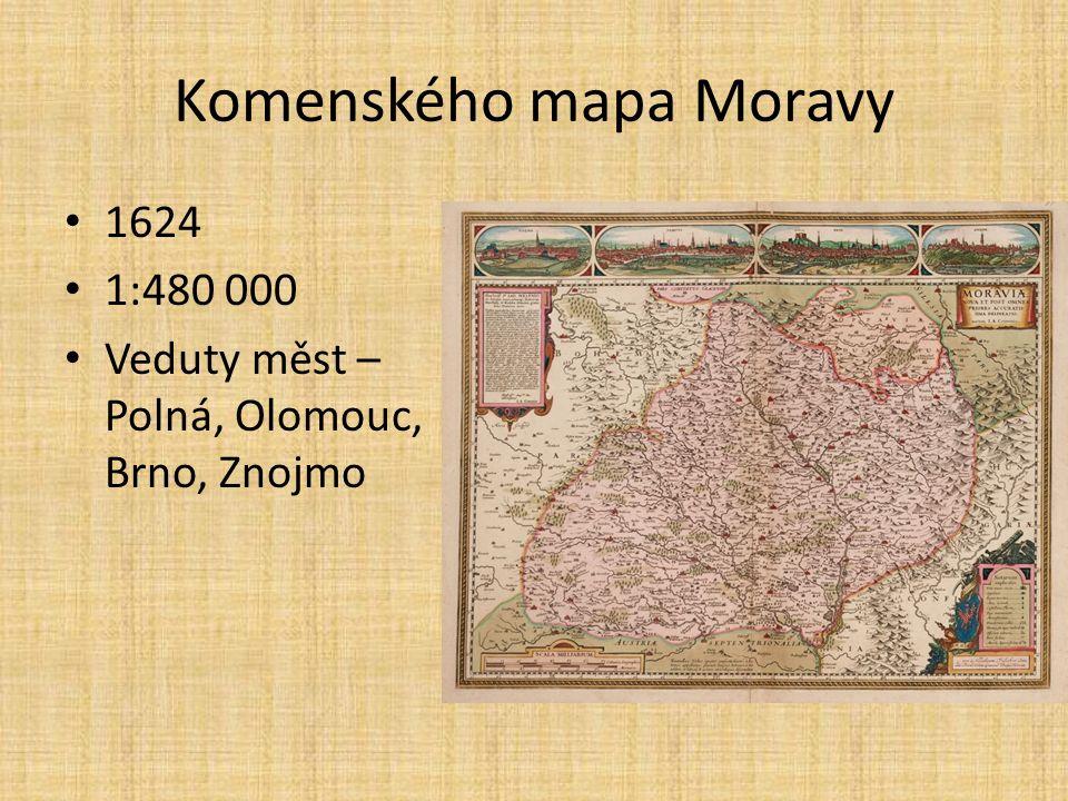Komenského mapa Moravy 1624 1:480 000 Veduty měst – Polná, Olomouc, Brno, Znojmo