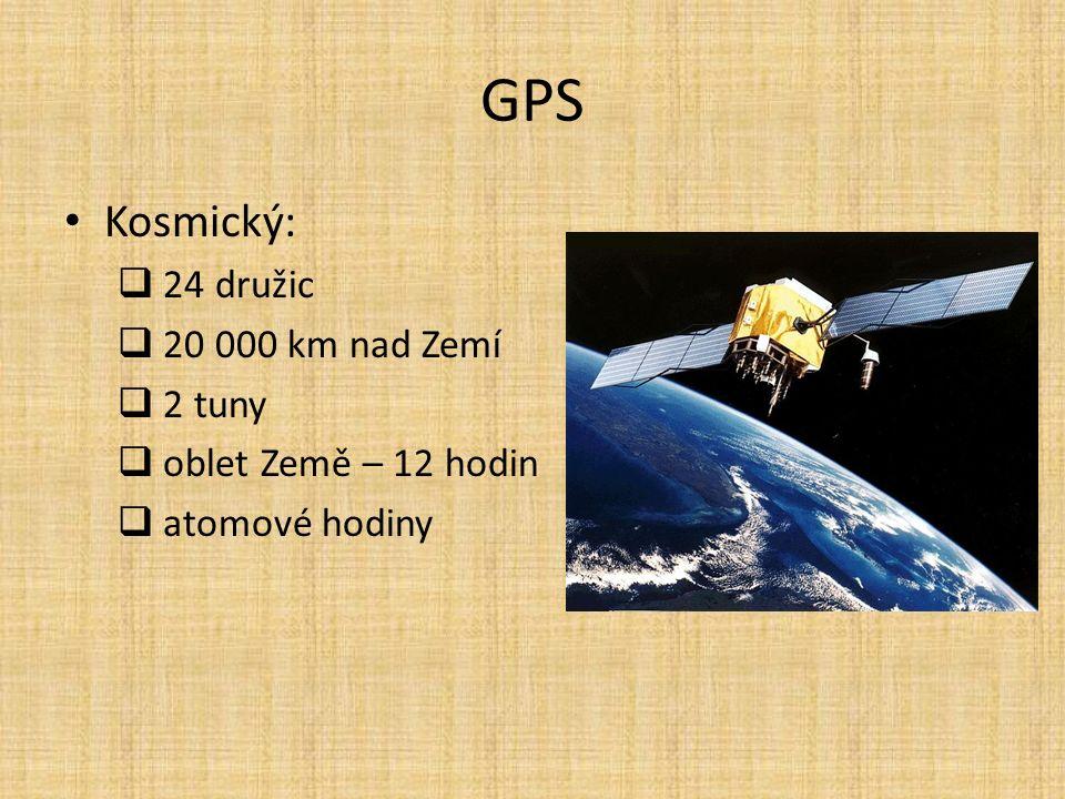GPS Kosmický:  24 družic  20 000 km nad Zemí  2 tuny  oblet Země – 12 hodin  atomové hodiny