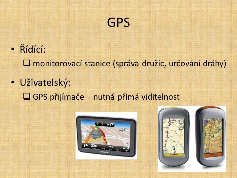 GPS Řídící:  monitorovací stanice (správa družic, určování dráhy) Uživatelský:  GPS přijímače – nutná přímá viditelnost