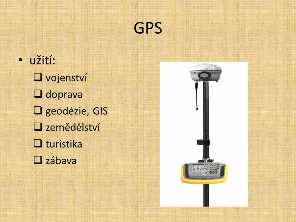 GPS užití:  vojenství  doprava  geodézie, GIS  zemědělství  turistika  zábava