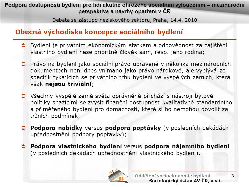 Podpora dostupnosti bydlení pro lidi akutně ohrožené sociálním vyloučením – mezinárodní perspektiva a návrhy opatření v ČR Debata se zástupci neziskového sektoru, Praha, 14.4.
