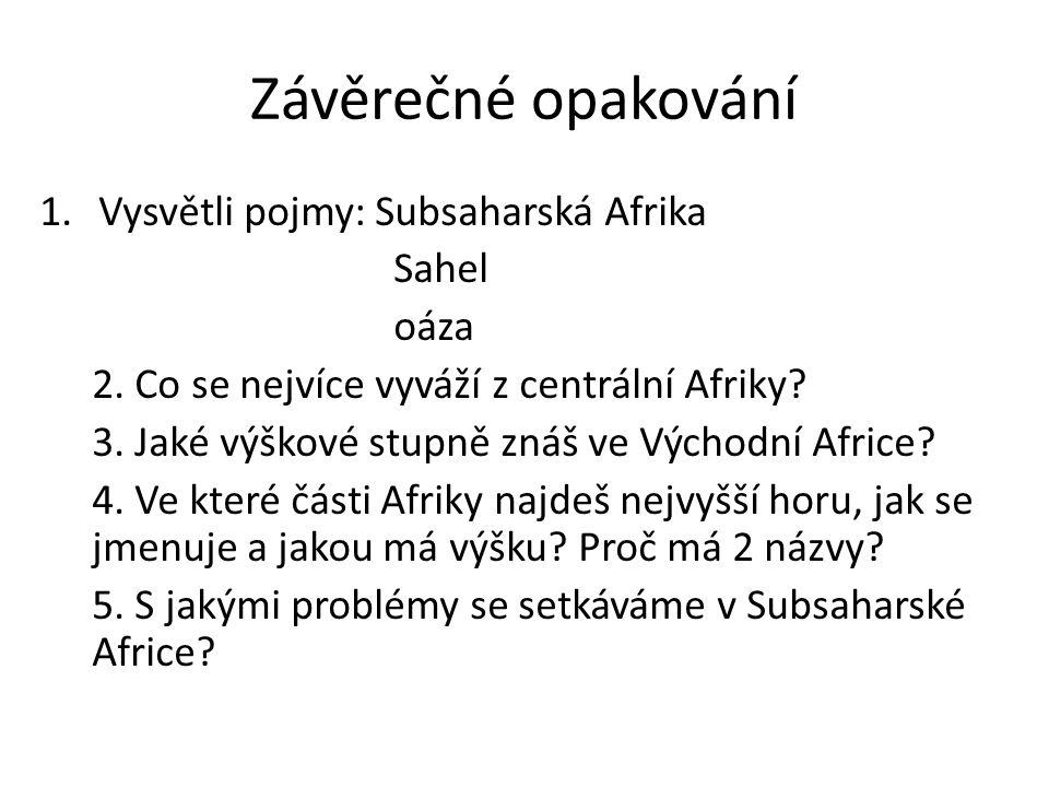 Závěrečné opakování 1.Vysvětli pojmy: Subsaharská Afrika Sahel oáza 2.