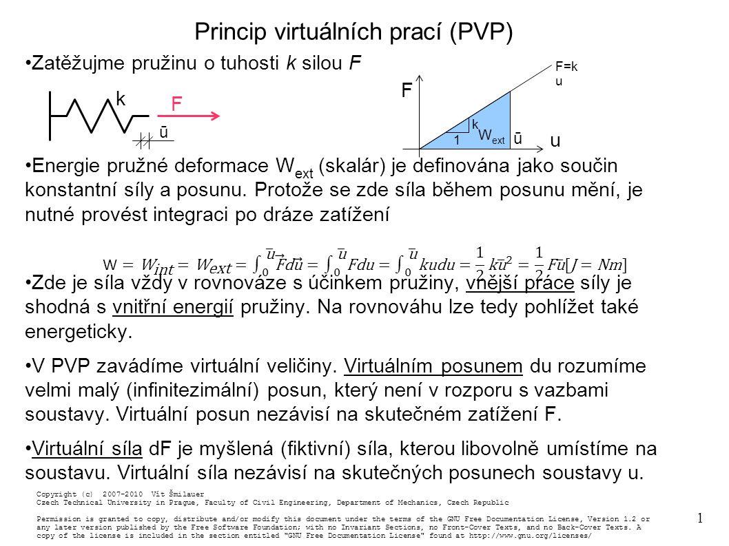 1 Princip virtuálních prací (PVP) Zatěžujme pružinu o tuhosti k silou F Energie pružné deformace W ext (skalár) je definována jako součin konstantní síly a posunu.