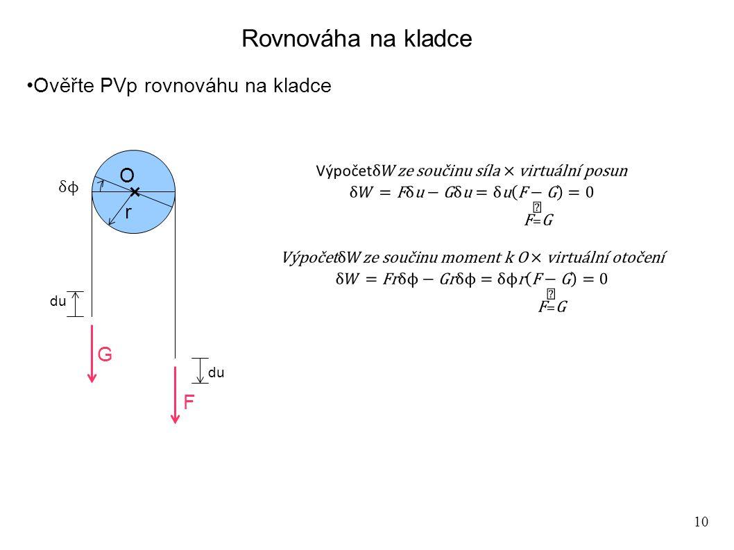 10 Rovnováha na kladce Ověřte PVp rovnováhu na kladce G F dudu O r dudu
