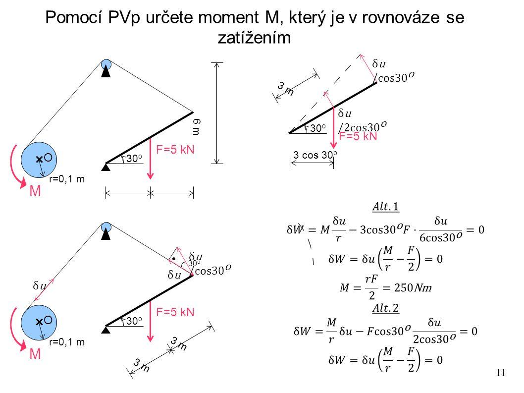 11 Pomocí PVp určete moment M, který je v rovnováze se zatížením F=5 kN O r=0,1 m 30 o 6 m F=5 kN O r=0,1 m 30 o 3 m 30 o F=5 kN 30 o 3 cos 30 o M M 3 m
