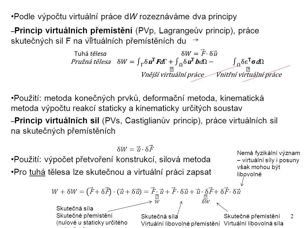 2 Podle výpočtu virtuální práce dW rozeznáváme dva principy – Princip virtuálních přemístění (PVp, Lagrangeův princip), práce skutečných sil F na virtuálních přemístěních du Použití: metoda konečných prvků, deformační metoda, kinematická metoda výpočtu reakcí staticky a kinematicky určitých soustav – Princip virtuálních sil (PVs, Castiglianův princip), práce virtuálních sil na skutečných přemístěních Použití: výpočet přetvoření konstrukcí, silová metoda Pro tuhá tělesa lze skutečnou a virtuální práci zapsat Skutečná síla Skutečné přemístění (nulové u staticky určitého podepření) Skutečná síla Virtuální libovolné přemístění Skutečné přemístění Virtuální libovolná síla Nemá fyzikální význam – virtuální síly i posuny však mohou být libovolné