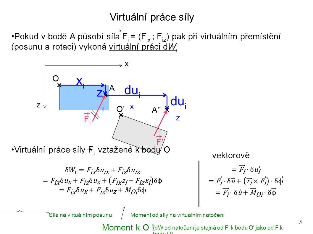 6 Virtuální práce soustavy sil a momentů na tuhé uvolněné desce Pro soustavu sil a momentů využijeme principu superpozice Pro prostor lze zobecnit z O O x F1F1 FiFi M1M1 MjMj