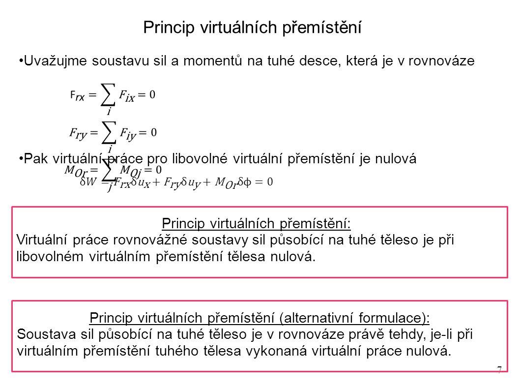 7 Princip virtuálních přemístění Uvažujme soustavu sil a momentů na tuhé desce, která je v rovnováze Pak virtuální práce pro libovolné virtuální přemístění je nulová Princip virtuálních přemístění: Virtuální práce rovnovážné soustavy sil působící na tuhé těleso je při libovolném virtuálním přemístění tělesa nulová.