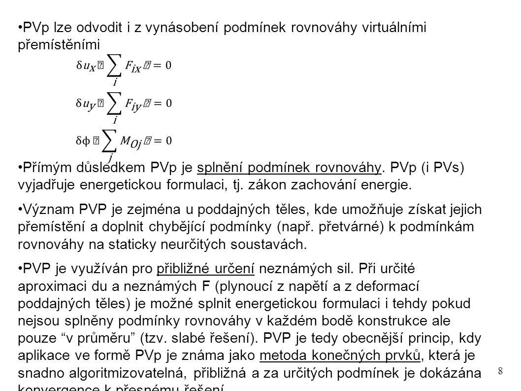 9 Aplikace PVp na případ rovnováhy Zjistěte pomocí PVp zda jsou uvedené síly v rovnováze Protože může být libovolné, je momentová podmínka rovnováhy splněna Pozn.