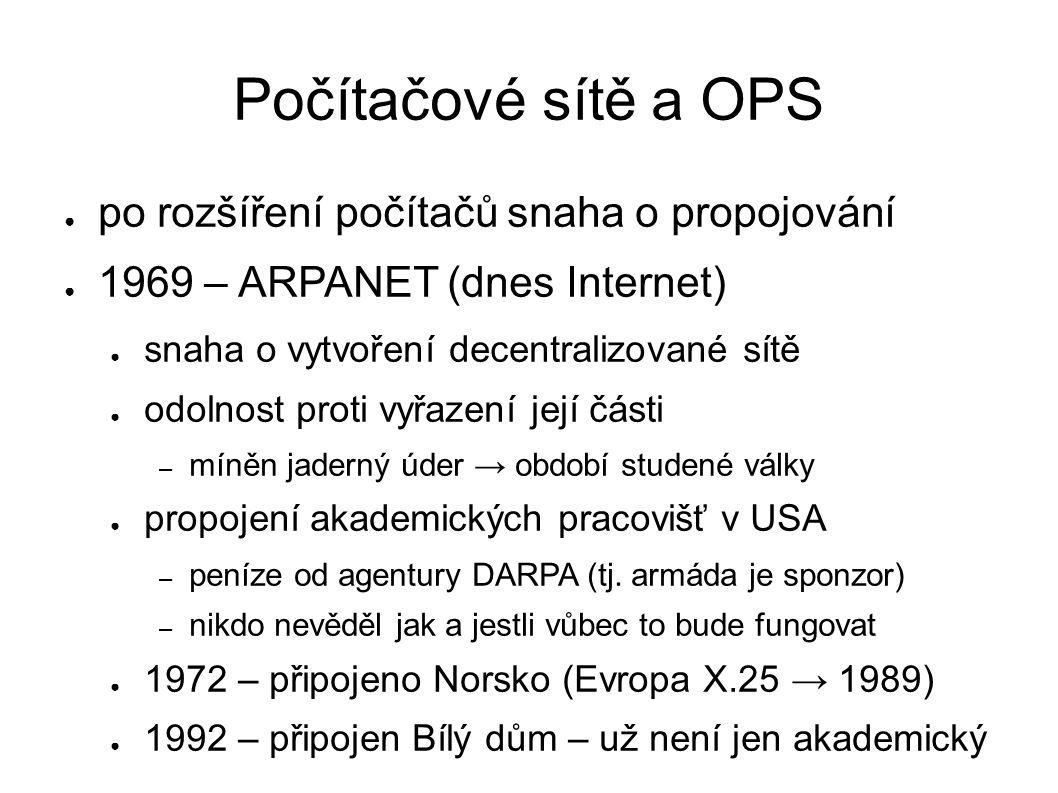 Síťové protokoly ● NCP (Network Control Program) ● původní protokol, za přenos je zodpovědná síť ● TCP/IP ● protokol Internetu od roku 1983 (IPv4) ● za přenos jsou odpovědné koncové body ● SMB (CIFS) – sdílení pro Microsoft Windows ● původně používal NetBIOS, dnes TCP/IP ● NCP (Netware Control Protocol) ● původně nad IPX/SPX, poté TCP/IP ● AppleTalk – obdoba SMB pro MAC