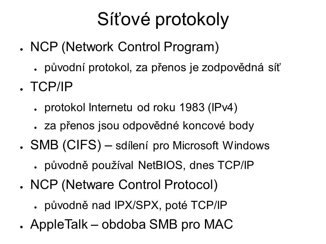 Vrstevnatý model sítí ● různé technologie ● Ethernet, ARCNET, Token ring, ATM, FDDI,...