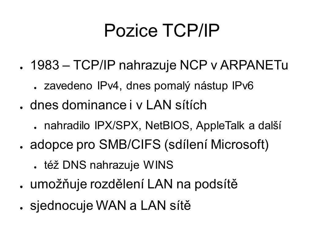 Pozice TCP/IP ● 1983 – TCP/IP nahrazuje NCP v ARPANETu ● zavedeno IPv4, dnes pomalý nástup IPv6 ● dnes dominance i v LAN sítích ● nahradilo IPX/SPX, NetBIOS, AppleTalk a další ● adopce pro SMB/CIFS (sdílení Microsoft) ● též DNS nahrazuje WINS ● umožňuje rozdělení LAN na podsítě ● sjednocuje WAN a LAN sítě