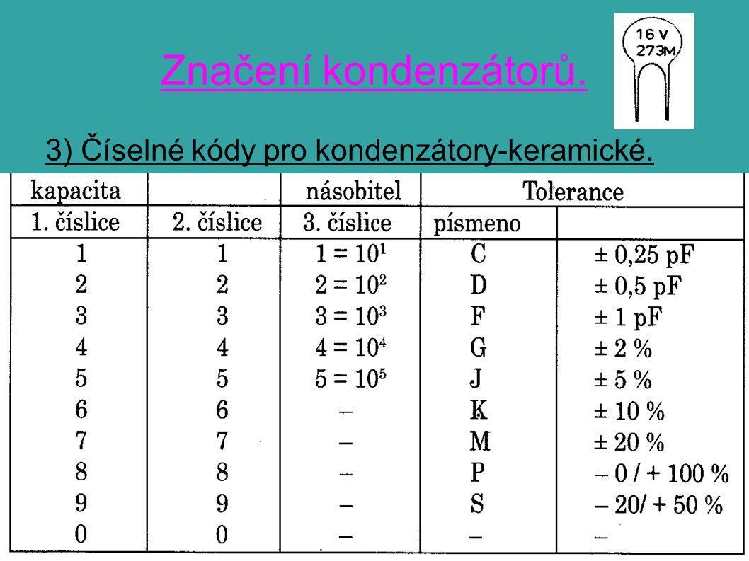 Značení kondenzátorů. 3) Číselné kódy pro kondenzátory-keramické.