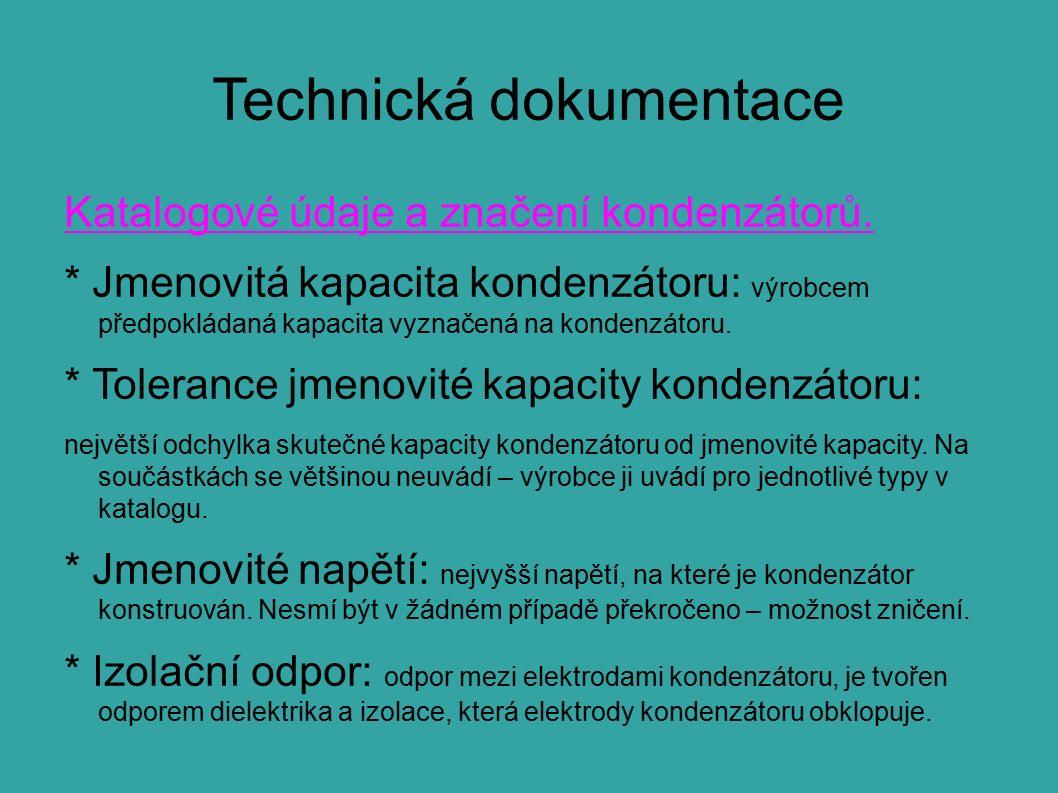 Technická dokumentace Katalogové údaje a značení kondenzátorů.