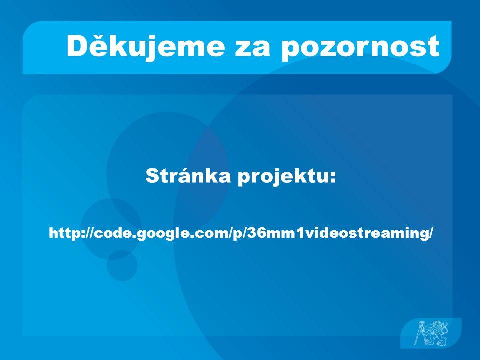 Děkujeme za pozornost Stránka projektu: http://code.google.com/p/36mm1videostreaming/