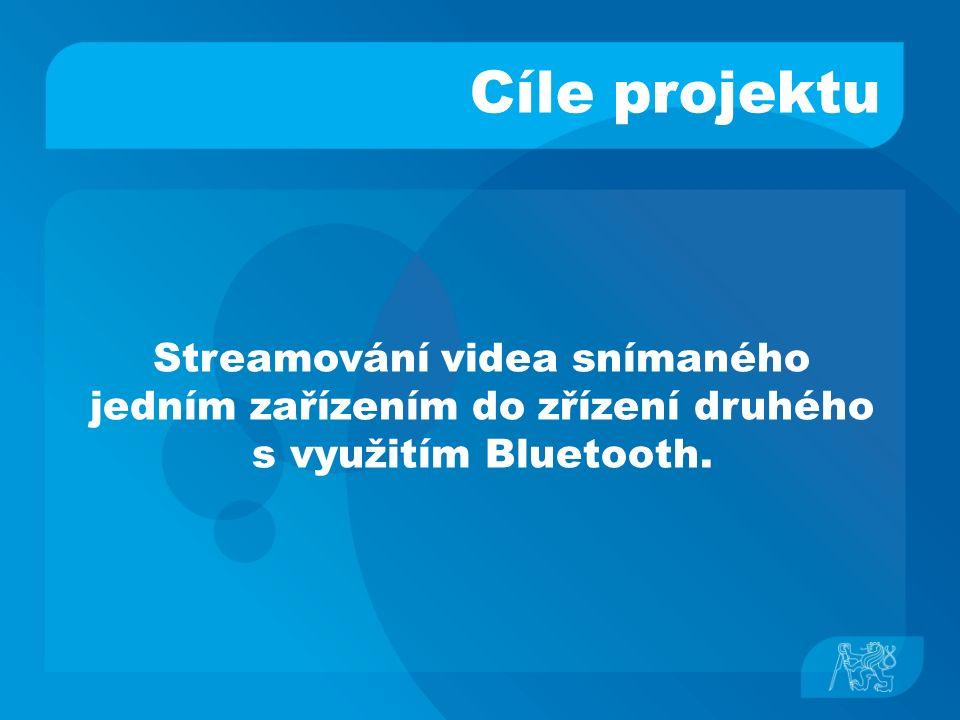 Použité technologie ● Java Micro Edition (MIDP 2.0) základní třídy, I/O, GUI ● Mobile Multimedia API (JSR 135) kontrola audia / videa ● Bluetooth API (JSR 82) vyhledávání a navazování spojení