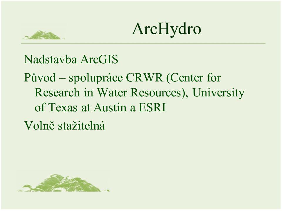 ArcHydro Nadstavba ArcGIS Původ – spolupráce CRWR (Center for Research in Water Resources), University of Texas at Austin a ESRI Volně stažitelná