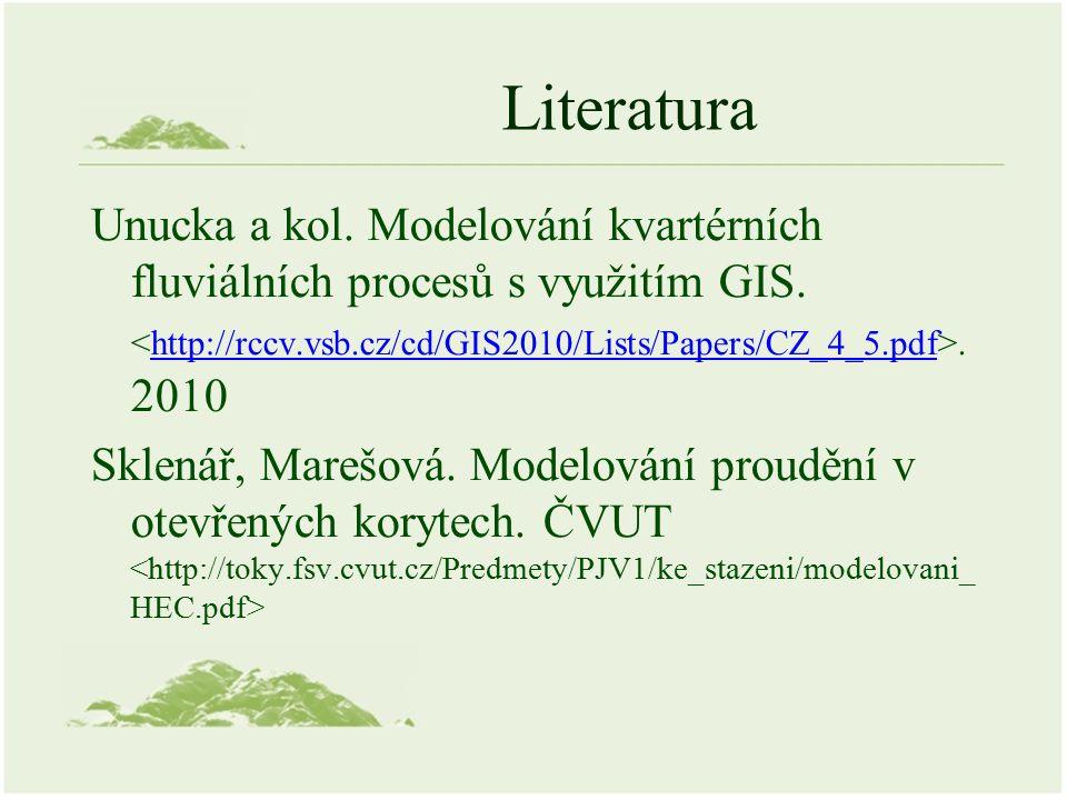 Literatura Unucka a kol. Modelování kvartérních fluviálních procesů s využitím GIS..