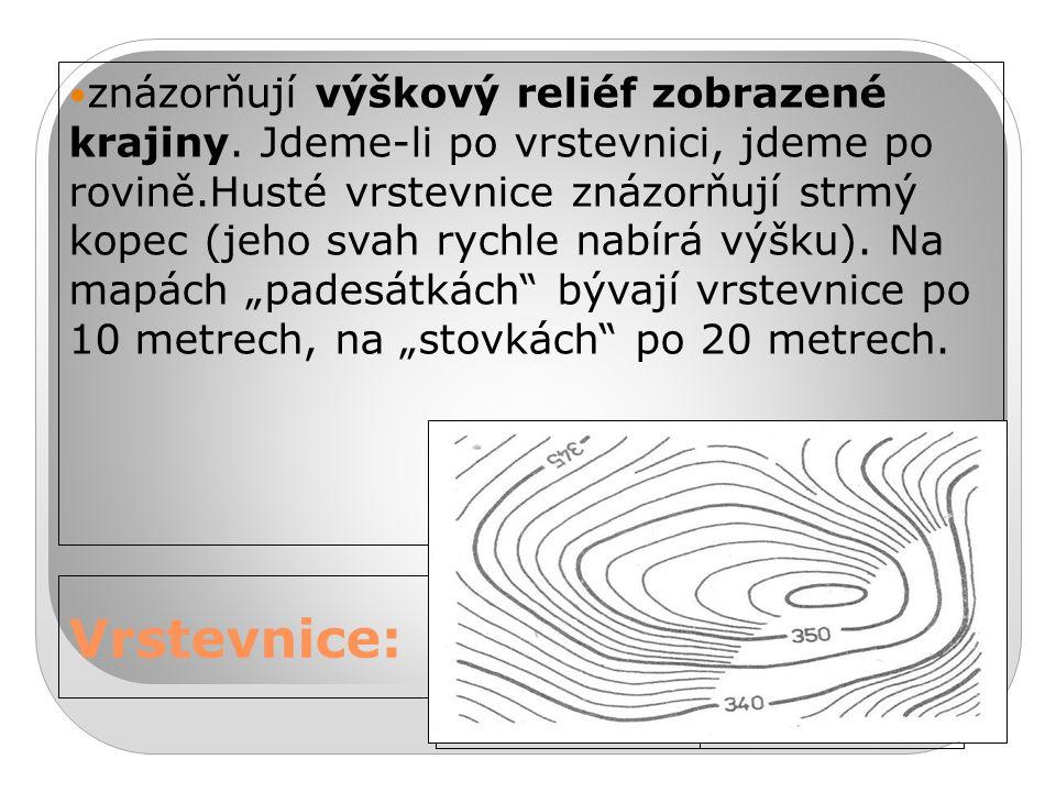 24.9.2016 Vrstevnice: znázorňují výškový reliéf zobrazené krajiny.