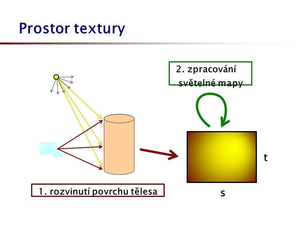 Prostor textury 2. zpracování světelné mapy 1. rozvinutí povrchu tělesa s t