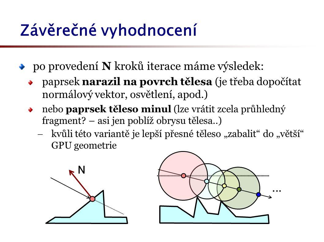 Závěrečné vyhodnocení po provedení N kroků iterace máme výsledek: paprsek narazil na povrch tělesa (je třeba dopočítat normálový vektor, osvětlení, apod.) nebo paprsek těleso minul (lze vrátit zcela průhledný fragment.