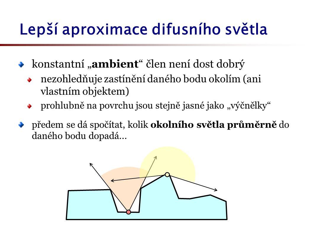 """Lepší aproximace difusního světla konstantní """"ambient člen není dost dobrý nezohledňuje zastínění daného bodu okolím (ani vlastním objektem) prohlubně na povrchu jsou stejně jasné jako """"výčnělky předem se dá spočítat, kolik okolního světla průměrně do daného bodu dopadá..."""