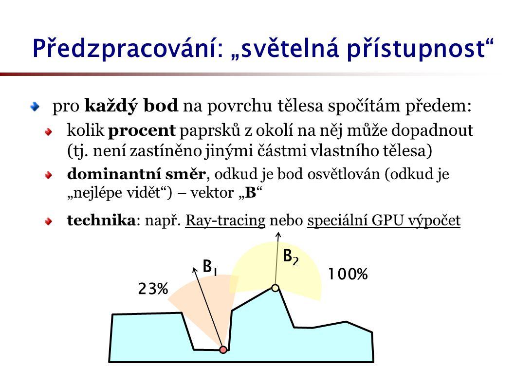 """Předzpracování: """"světelná přístupnost pro každý bod na povrchu tělesa spočítám předem: kolik procent paprsků z okolí na něj může dopadnout (tj."""