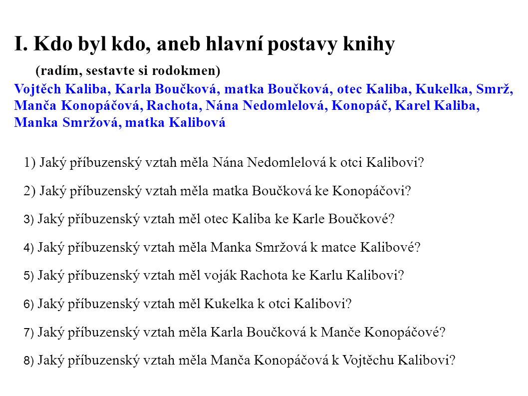 I. Kdo byl kdo, aneb hlavní postavy knihy (radím, sestavte si rodokmen) Vojtěch Kaliba, Karla Boučková, matka Boučková, otec Kaliba, Kukelka, Smrž, Ma
