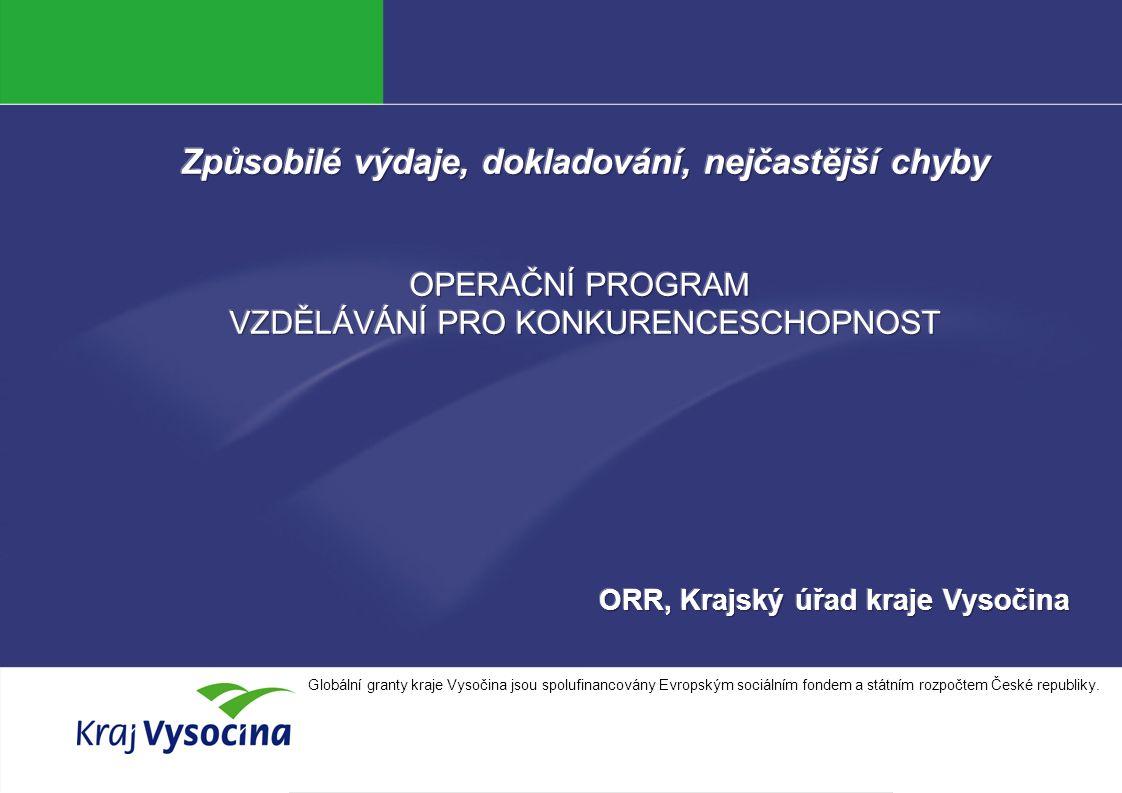 Jana Kopečková Globální granty kraje Vysočina jsou spolufinancovány Evropským sociálním fondem a státním rozpočtem České republiky.