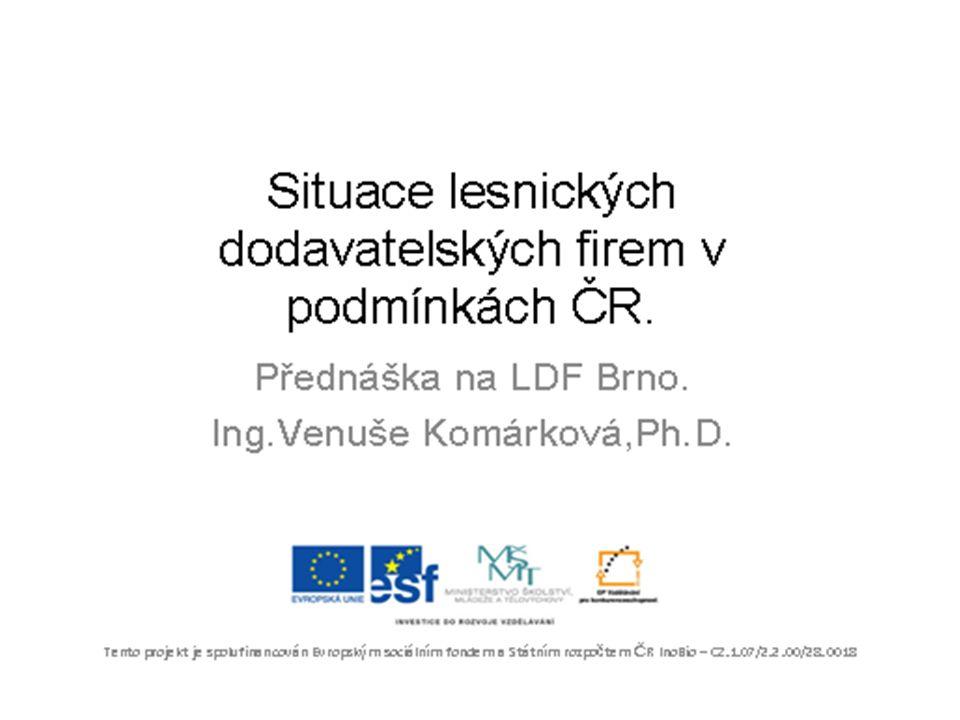 Obsah přednášky 1.Lesnická politika v ČR a role lesnických dodavatelských firem.