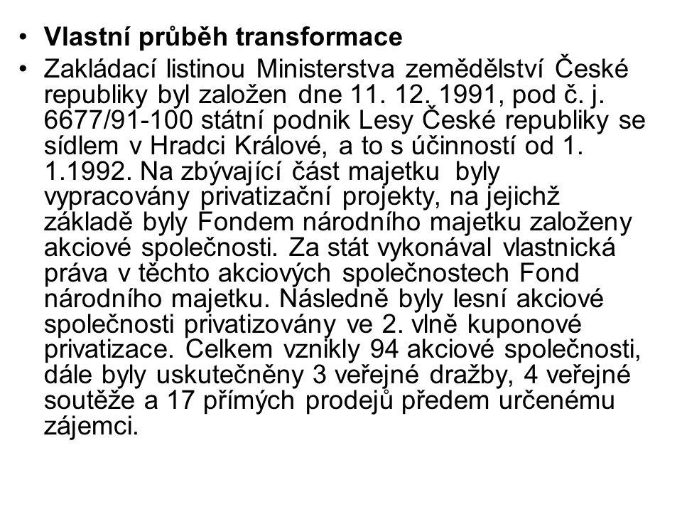Vlastní průběh transformace Zakládací listinou Ministerstva zemědělství České republiky byl založen dne 11.