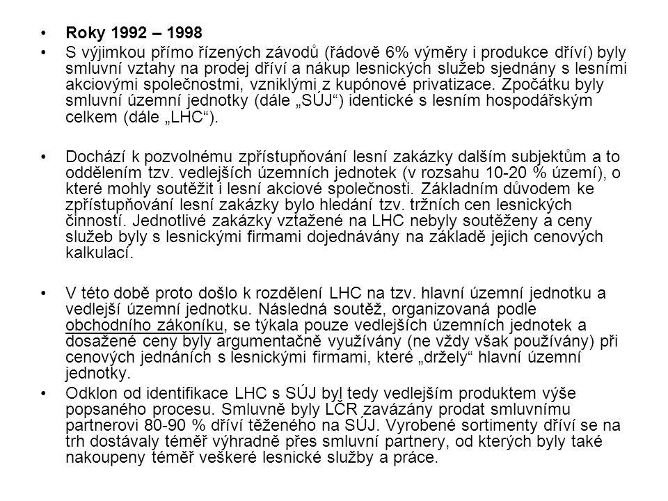 Roky 1992 – 1998 S výjimkou přímo řízených závodů (řádově 6% výměry i produkce dříví) byly smluvní vztahy na prodej dříví a nákup lesnických služeb sjednány s lesními akciovými společnostmi, vzniklými z kupónové privatizace.