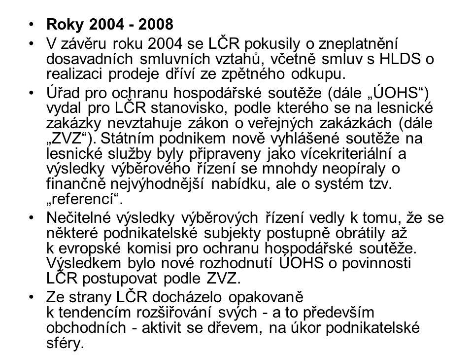 Roky 2004 - 2008 V závěru roku 2004 se LČR pokusily o zneplatnění dosavadních smluvních vztahů, včetně smluv s HLDS o realizaci prodeje dříví ze zpětného odkupu.