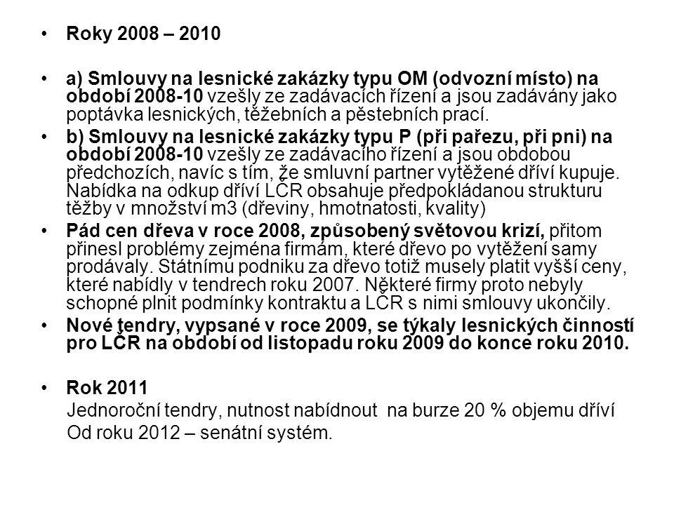 Roky 2008 – 2010 a) Smlouvy na lesnické zakázky typu OM (odvozní místo) na období 2008-10 vzešly ze zadávacích řízení a jsou zadávány jako poptávka lesnických, těžebních a pěstebních prací.