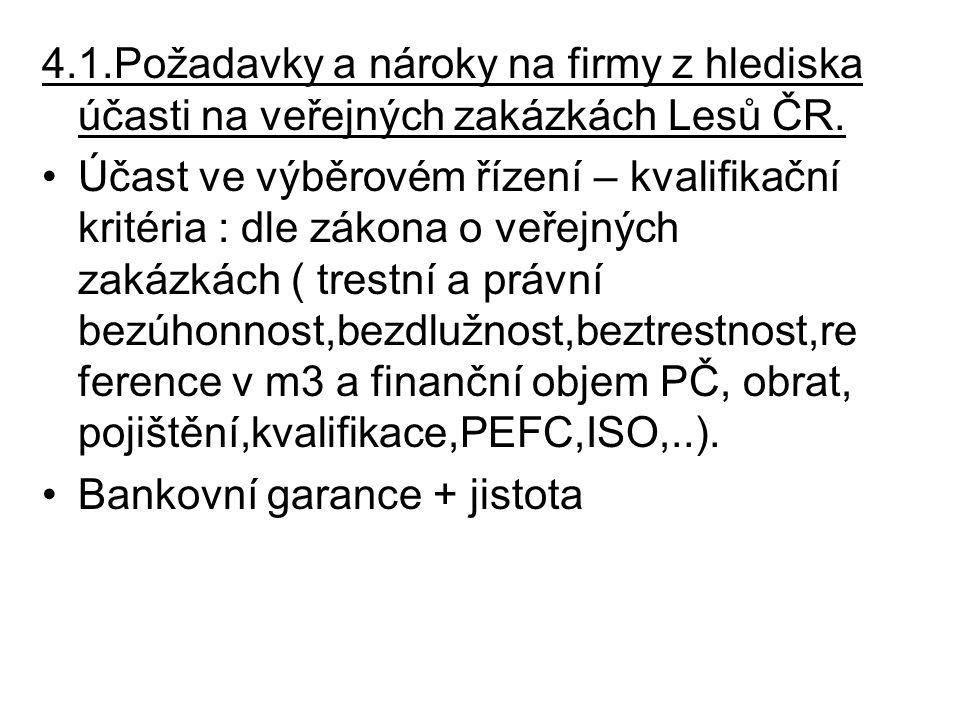 4.1.Požadavky a nároky na firmy z hlediska účasti na veřejných zakázkách Lesů ČR. Účast ve výběrovém řízení – kvalifikační kritéria : dle zákona o veř