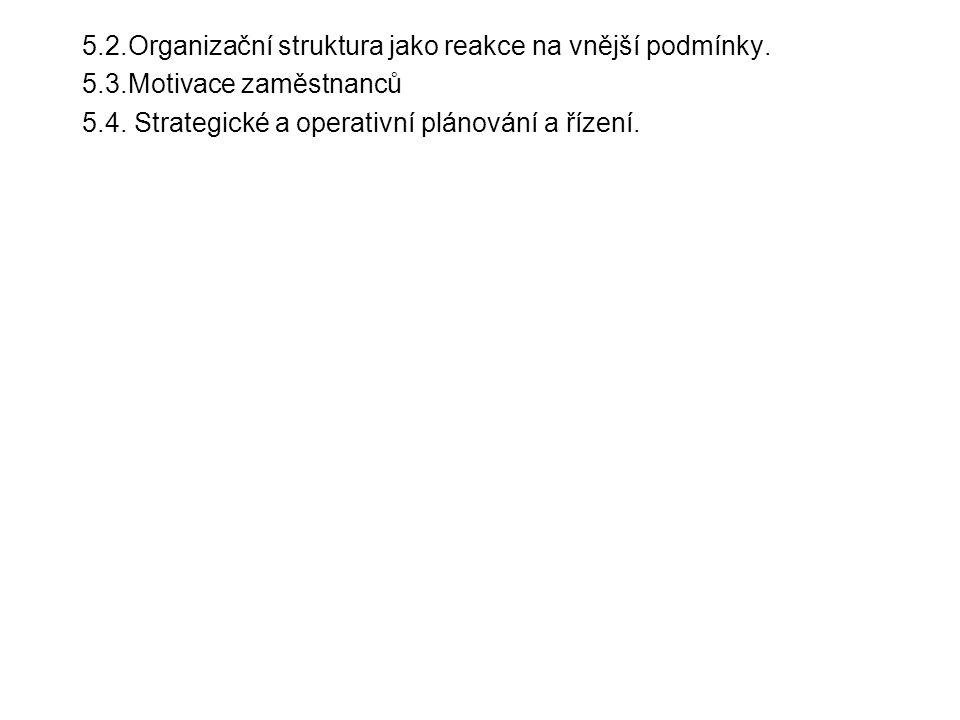 5.2.Organizační struktura jako reakce na vnější podmínky. 5.3.Motivace zaměstnanců 5.4. Strategické a operativní plánování a řízení.