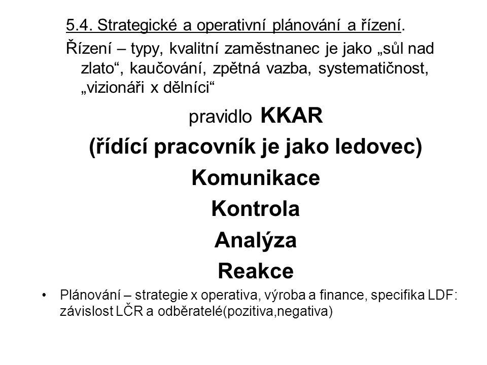 """5.4. Strategické a operativní plánování a řízení. Řízení – typy, kvalitní zaměstnanec je jako """"sůl nad zlato"""", kaučování, zpětná vazba, systematičnost"""