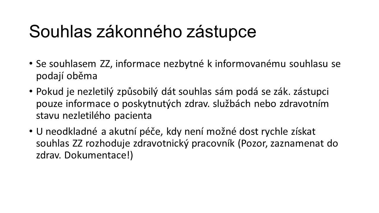 Souhlas zákonného zástupce Se souhlasem ZZ, informace nezbytné k informovanému souhlasu se podají oběma Pokud je nezletilý způsobilý dát souhlas sám p
